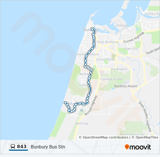 843 Route: Time Schedules, Stops & Maps - Bunbury Bus Stn