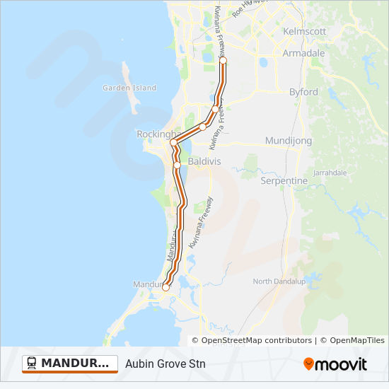 Mandurah Line Route Time Schedules Stops Amp Maps Perth
