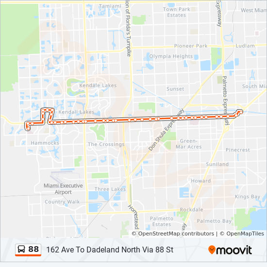 88 Route: Time Schedules, Stops & Maps - 88 - Dadeland North on