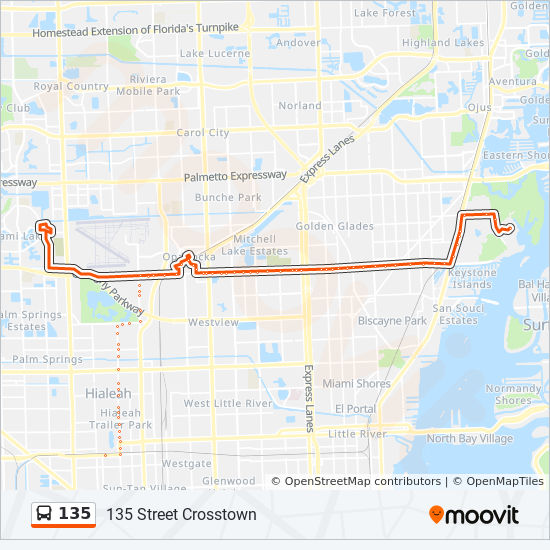 Biscayne Bay Campus Map.135 Route Time Schedules Stops Maps 135 F I U Biscayne Bay