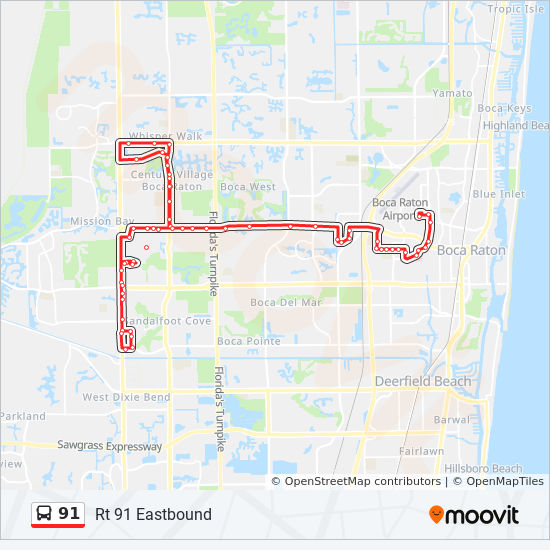 Map Of Florida Showing Boca Raton.91 Route Time Schedules Stops Maps Rt 91 Eastbound