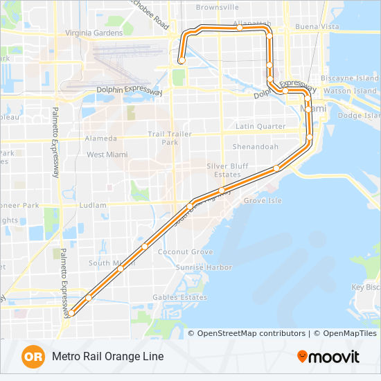 Miami Subway Map Pdf.Orange Route Time Schedules Stops Maps Southbound