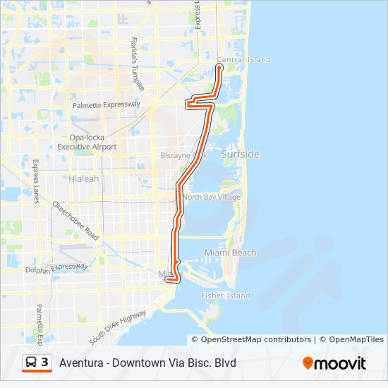 3 Route: Time Schedules, Stops & Maps - 3 - Downtown Miami on