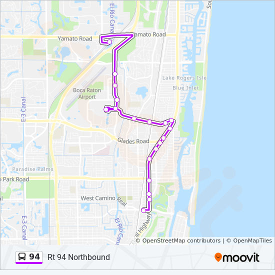 Map Of Florida Showing Boca Raton.94 Route Time Schedules Stops Maps Rt 94 Northbound