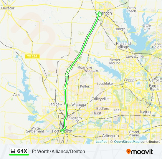 64X Route: Time Schedules, Stops & Maps - Ft Worth/Alliance ...