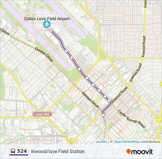 524 Route: Time Schedules, Stops & Maps - North - Love Field Airport