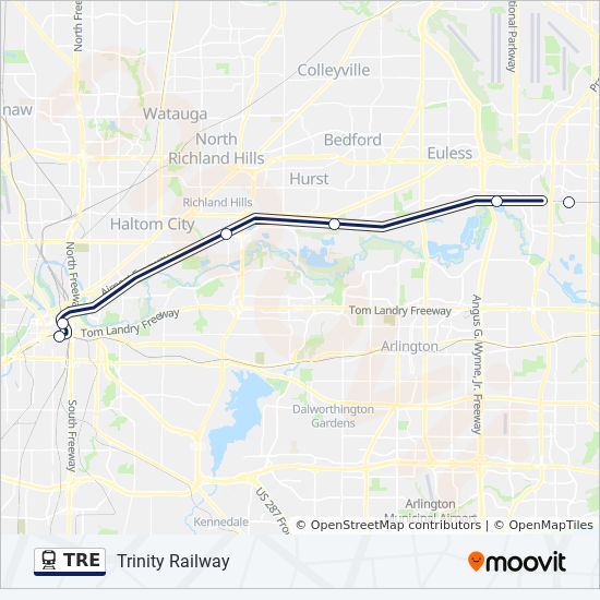 TRE Route: Time Schedules, Stops & Maps - Eastbound