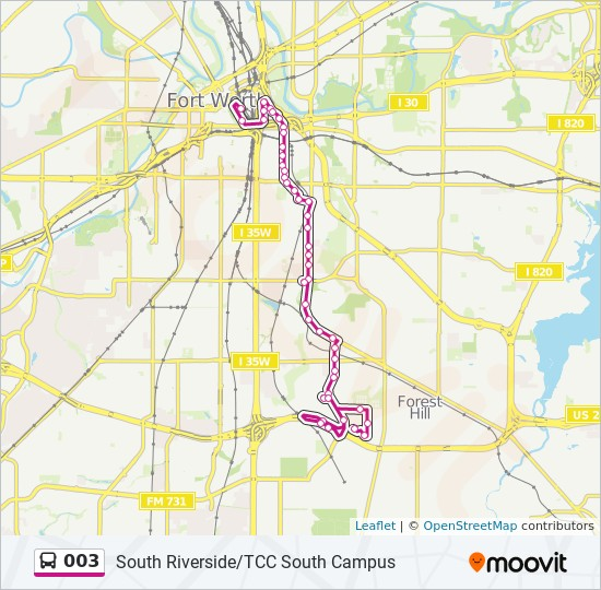 003 Route: Time Schedules, Stops & Maps - S. Riverside/Tcc South on florida gateway college campus map, trinity river campus tarrant county, tccd south campus map,