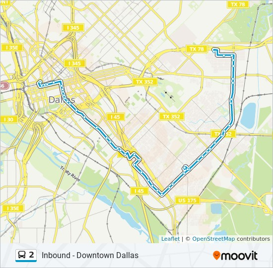 2 Route: Time Schedules, Stops & Maps - Inbound - Downtown Dallas on