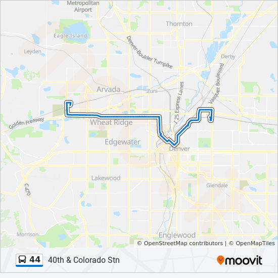 Sheridan Colorado Map.44 Route Time Schedules Stops Maps 40th Colorado Stn