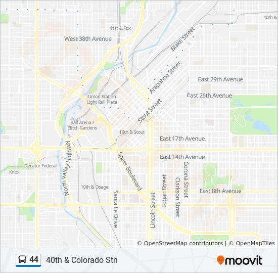 44 Route: Time Schedules, Stops & Maps - 40th & Colorado Stn on denver park map, denver rtd map, denver light rail map, denver bike route map, denver rail line map, denver college map, denver schools map, denver metro system map, denver region map, denver bike path map, denver home, denver transit system map, denver california map, colorado rtd tax map, denver hotels map, denver trolley system, rtd bus map, denver county map, denver driving map,