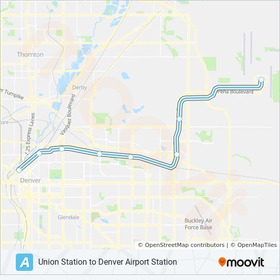 A Route: Time Schedules, Stops & Maps - Denver Airport on