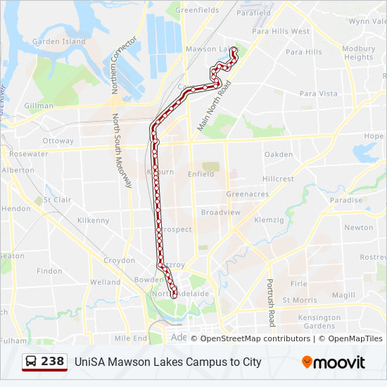 Unisa Mawson Lakes Map 238 Route: Timetables, Stops & Maps Unisa Mawson Lakes Map