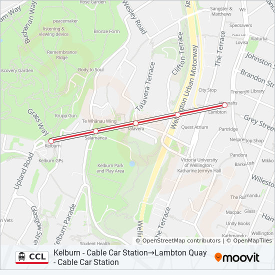 CCL Route: Time Schedules, Stops & Maps - Kelburn - Cable Car ... on