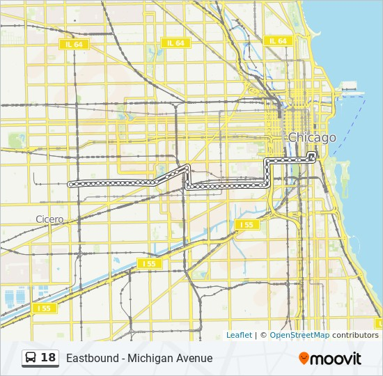 18 Route Time Schedules Stops Maps Eastbound Michigan Avenue