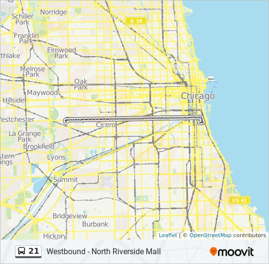 21 Route Time Schedules Stops Maps Westbound North Riverside