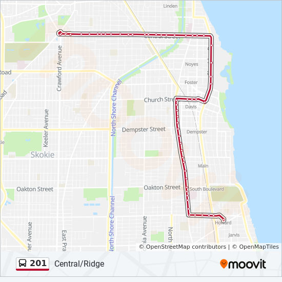 201 Route: Time Schedules, Stops & Maps - Eastbound - Howard Station