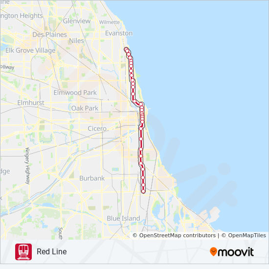 Chicago Red Line Map RED LINE Route: Time Schedules, Stops & Maps   Southbound