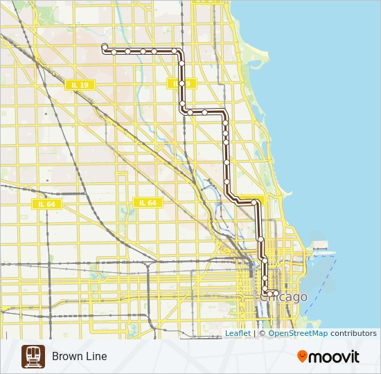 Downtown Chicago Subway Map.Brown Line Route Time Schedules Stops Maps Belmont