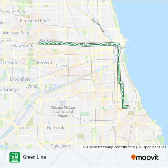 GREEN LINE Chicago 'L' Line Map
