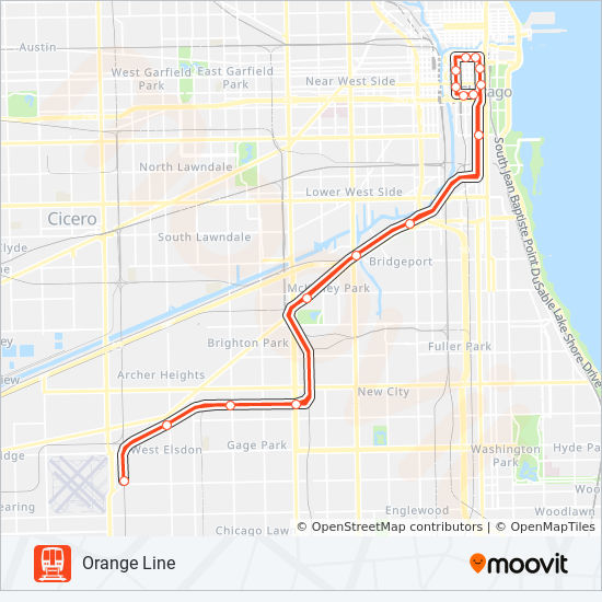 Subway Map Pdf Chicago.Orange Line Route Time Schedules Stops Maps Towards The Loop