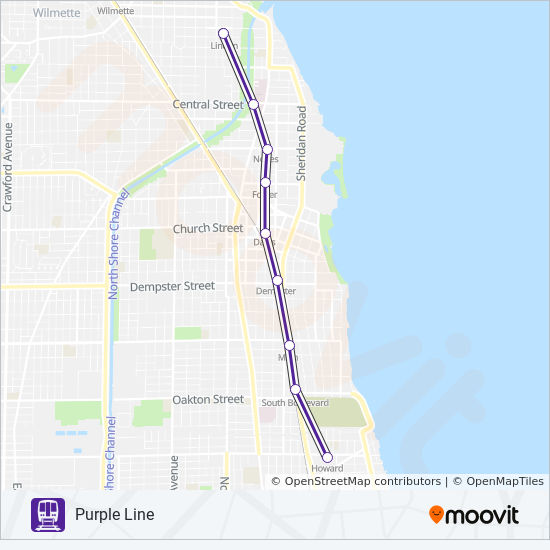 Evanston Subway Map.Purple Line Route Time Schedules Stops Maps Howard