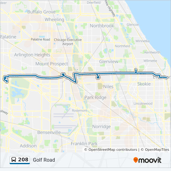 208 Route: Time Schedules, Stops & Maps - West