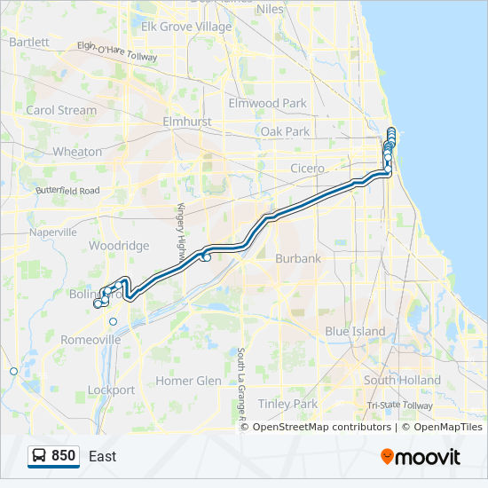 850 Route: Time Schedules, Stops & Maps - East