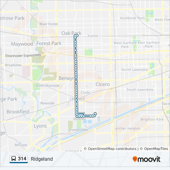 314 Route: Time Schedules, Stops & Maps - South