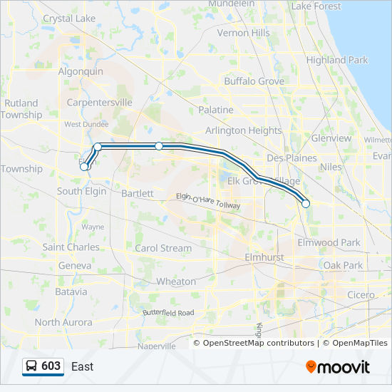 603 Route: Time Schedules, Stops & Maps - East