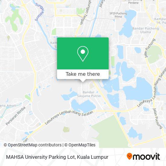MAHSA University Parking Lot map