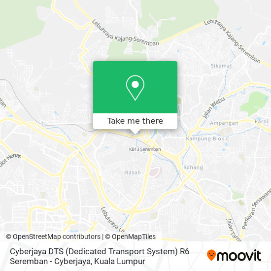 Peta Cyberjaya DTS (Dedicated Transport System) R6 Seremban - Cyberjaya