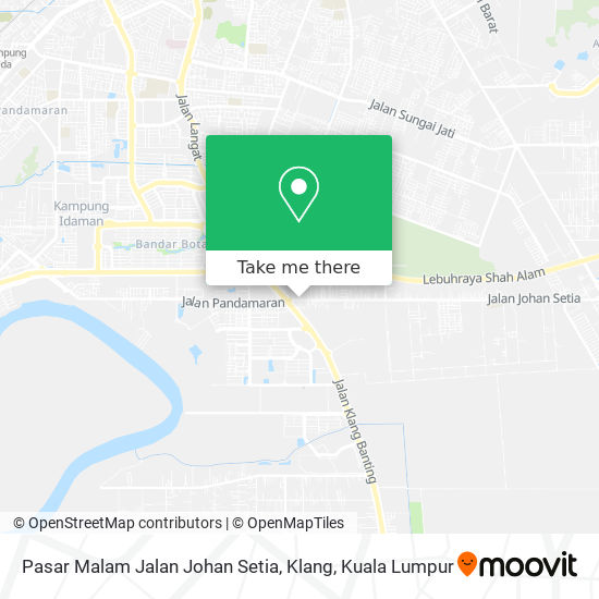 Pasar Malam Jalan Johan Setia, Klang map