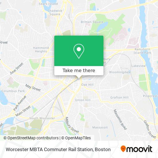 Mapa de Worcester MBTA Commuter Rail Station