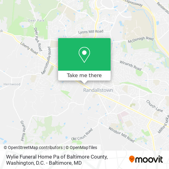 Mapa de Wylie Funeral Home Pa of Baltimore County