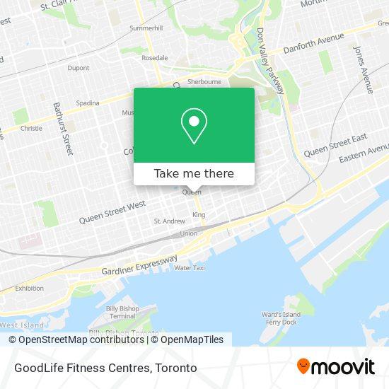 Mapa GoodLife Fitness Centres