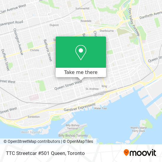 Mapa TTC Streetcar #501 Queen