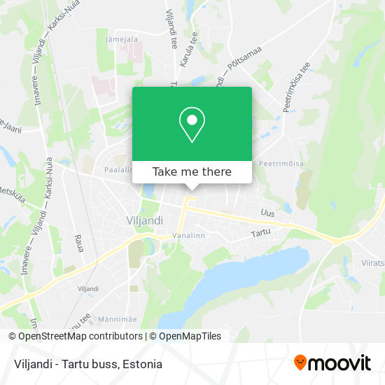 Viljandi - Tartu buss map