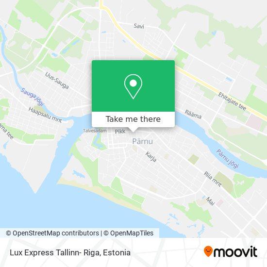 Lux Express Tallinn- Riga map