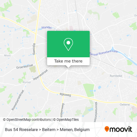 Bus 54 Roeselare > Beitem > Menen map