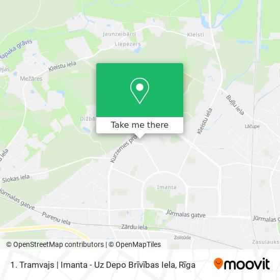 1. Tramvajs   Imanta - Uz Depo Brīvības Iela map