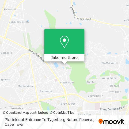 Plattekloof Entrance To Tygerberg Nature Reserve map