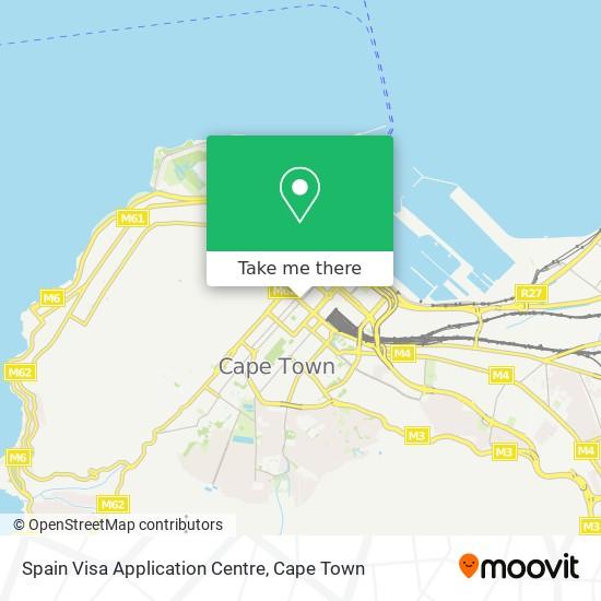 Spain Visa Application Centre map
