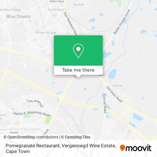 Pomegranate Restaurant, Vergenoegd Wine Estate map