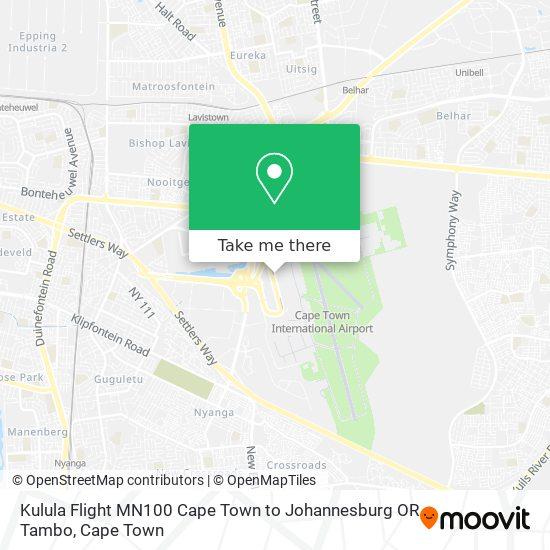 Kulula Flight MN100 Cape Town to Johannesburg OR Tambo map