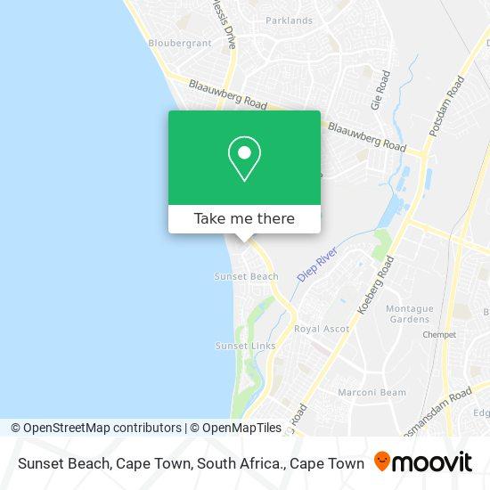 Sunset Beach, Cape Town, South Africa. map