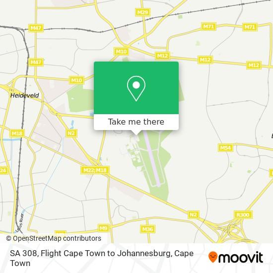 SA 308, Flight Cape Town to Johannesburg map