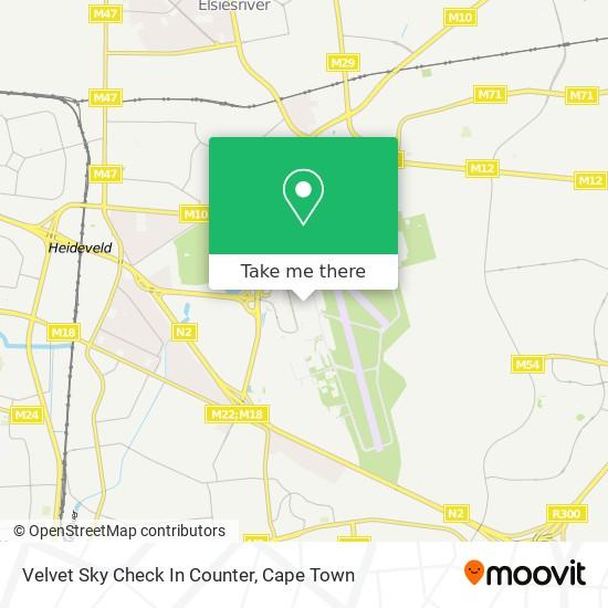 Velvet Sky Check In Counter map