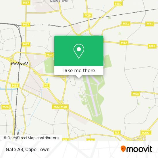 Gate A8 map