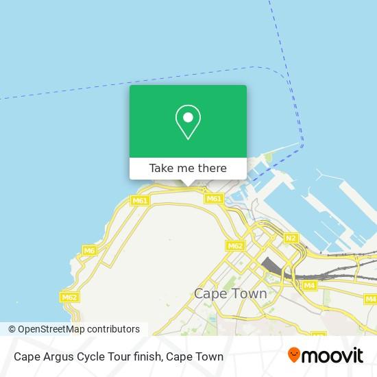 Cape Argus Cycle Tour finish map